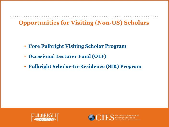 Opportunities for Visiting (Non-US) Scholars