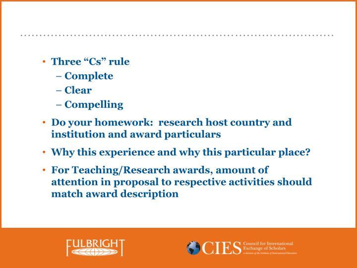 """Three """"Cs"""" rule"""