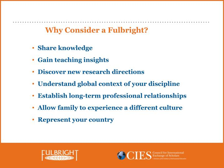 Why Consider a Fulbright?