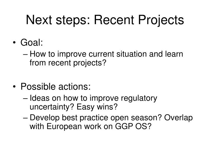 Next steps: Recent Projects