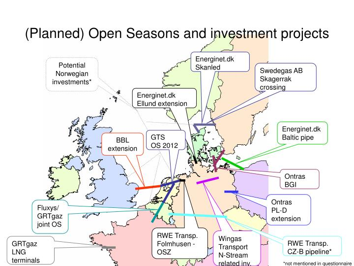 (Planned) Open Seasons and investment projects