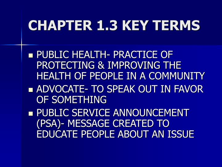 CHAPTER 1.3 KEY TERMS