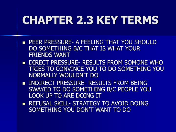 CHAPTER 2.3 KEY TERMS