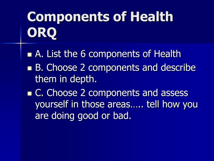 Components of Health ORQ