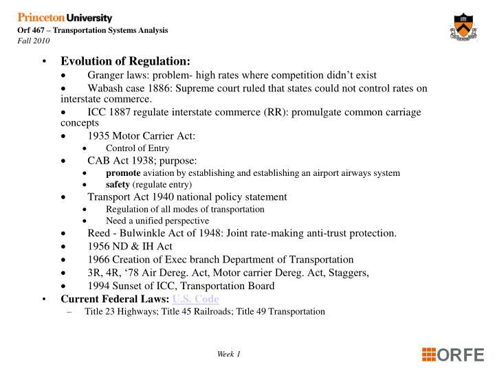 Evolution of Regulation: