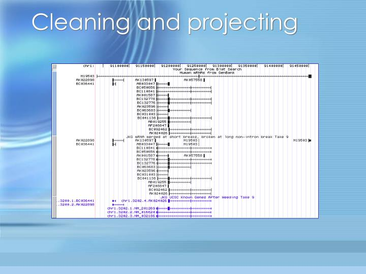 Cleaning and projecting