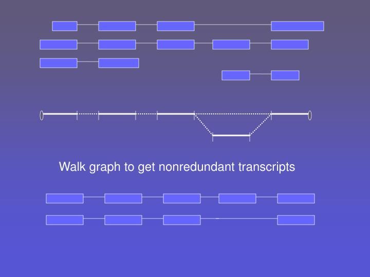 Walk graph to get nonredundant transcripts