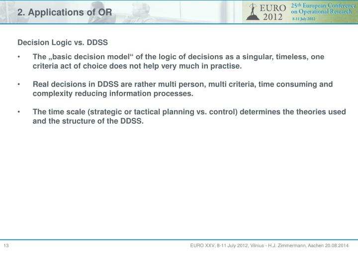 2. Applications of OR