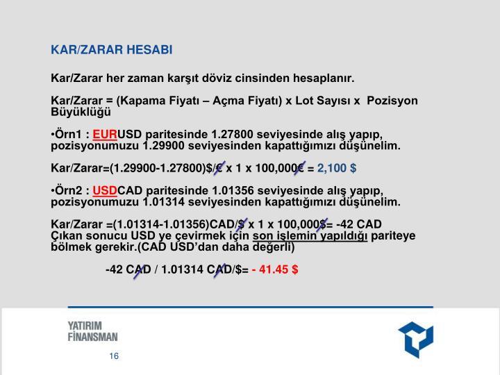 KAR/ZARAR HESABI