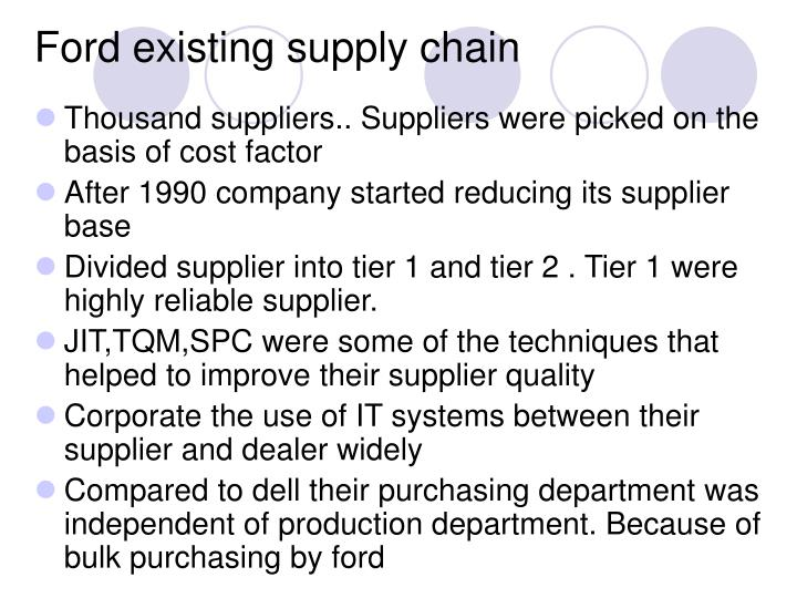 ford company supply chain strategy One of those is auto giant ford motor company, and ford is sharing its new risk management strategy in a major new videocast dec 3rd on our supply chain television channel for more information about this videocast and to register for this event: new approach to supplier risk management at ford.