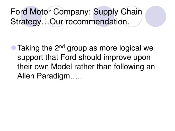 Ppt ford motor company supply chain strategy a case for Ford motor company marketing strategy