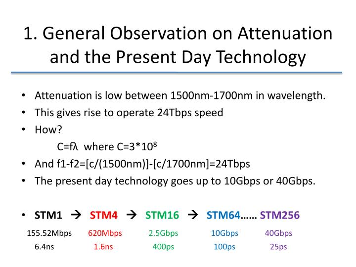 1. General Observation on Attenuation and the Present Day Technology
