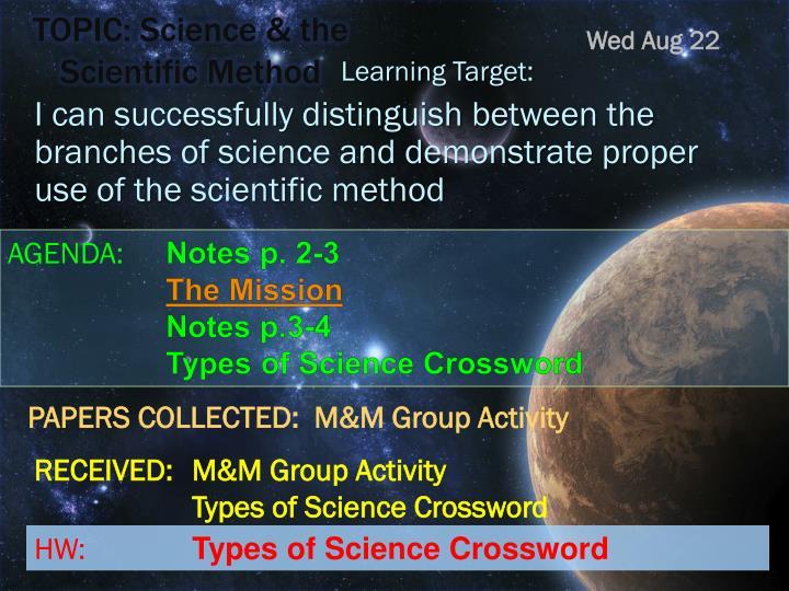 topic science the scientific method n.