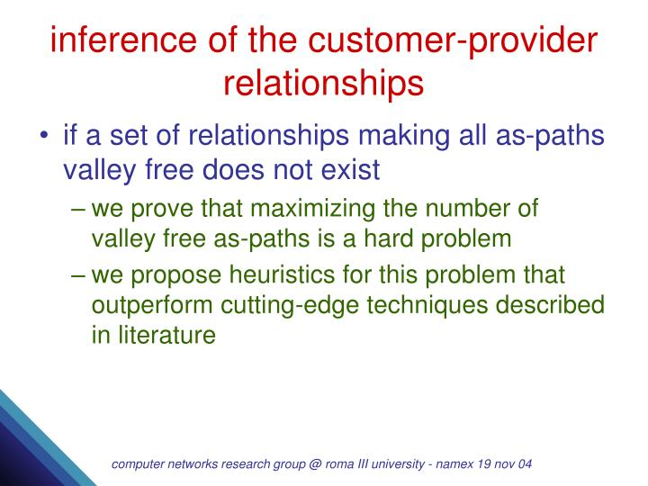 inference of the customer-provider relationships