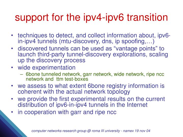support for the ipv4-ipv6 transition