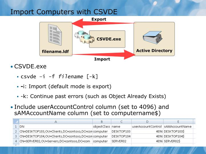 Import Computers with CSVDE