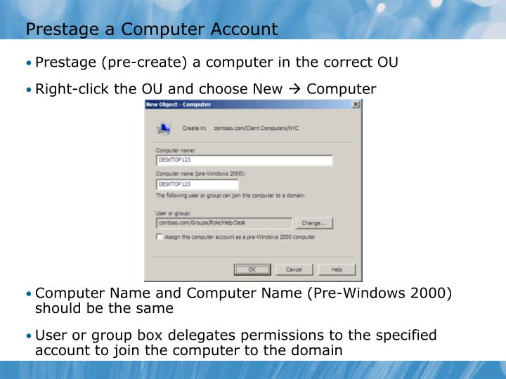 Prestage a Computer Account