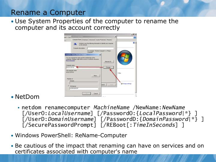 Rename a Computer