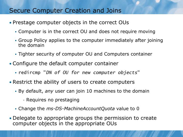 Secure Computer Creation and Joins