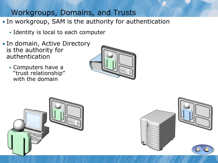Workgroups, Domains, and Trusts