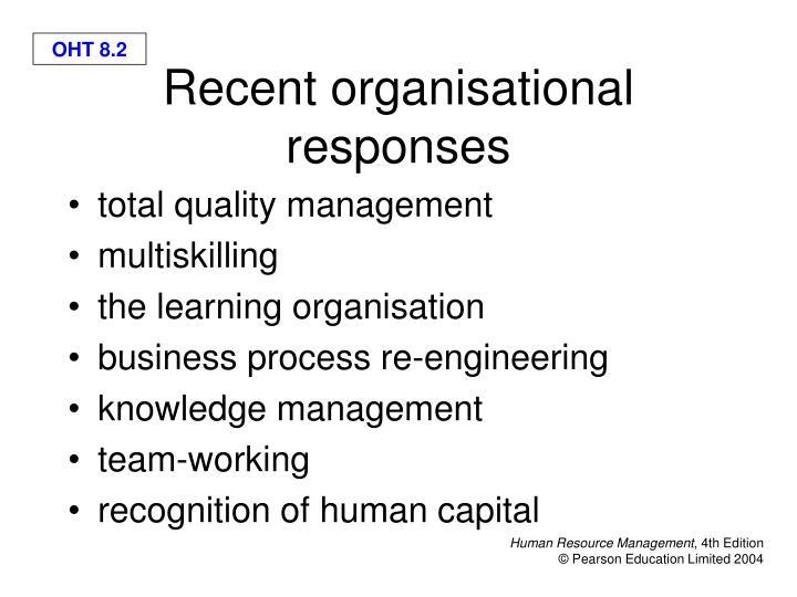 Recent organisational responses