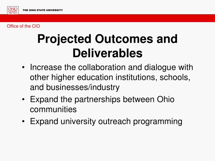 Projected Outcomes and Deliverables