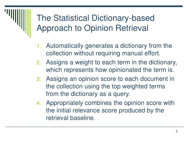 The Statistical Dictionary-based
