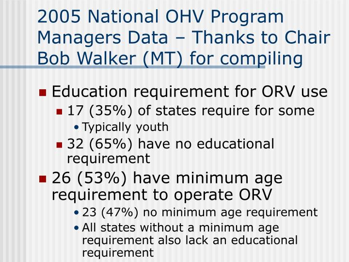2005 National OHV Program Managers Data – Thanks to Chair Bob Walker (MT) for compiling