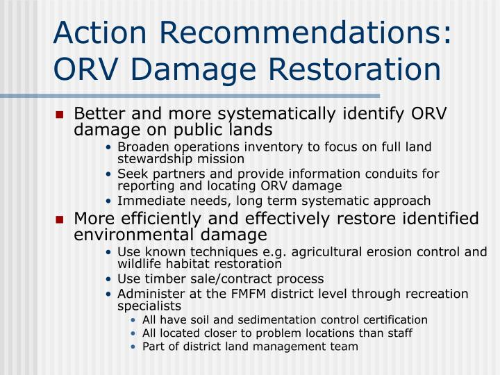 Action Recommendations: ORV Damage Restoration