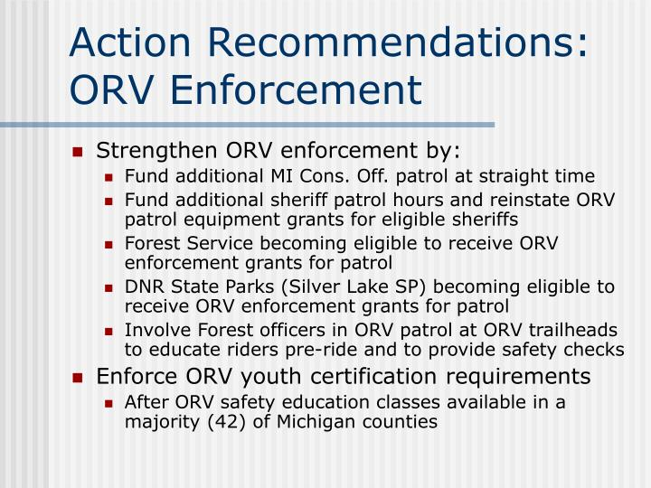 Action Recommendations: ORV Enforcement