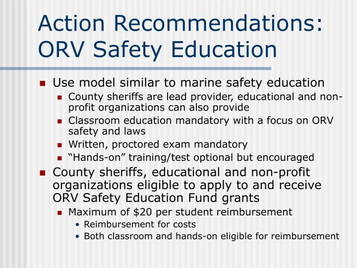 Action Recommendations: ORV Safety Education