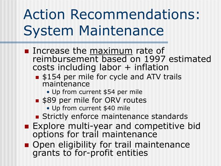 Action Recommendations: System Maintenance