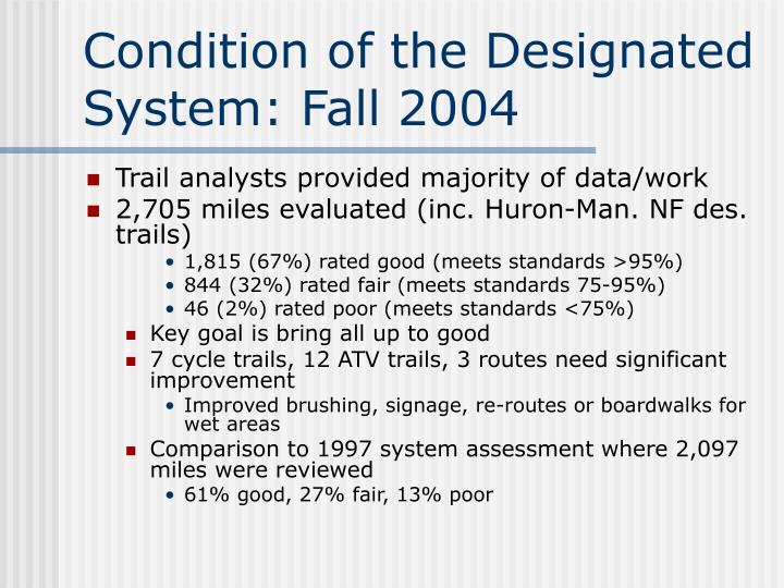 Condition of the Designated System: Fall 2004