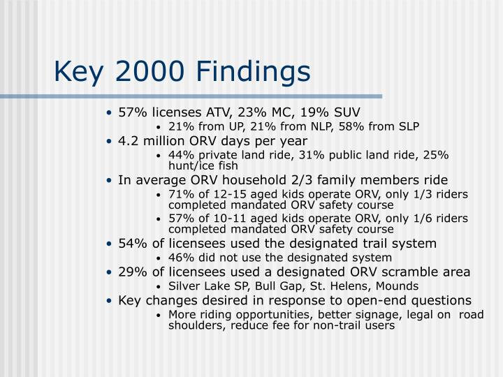 Key 2000 Findings