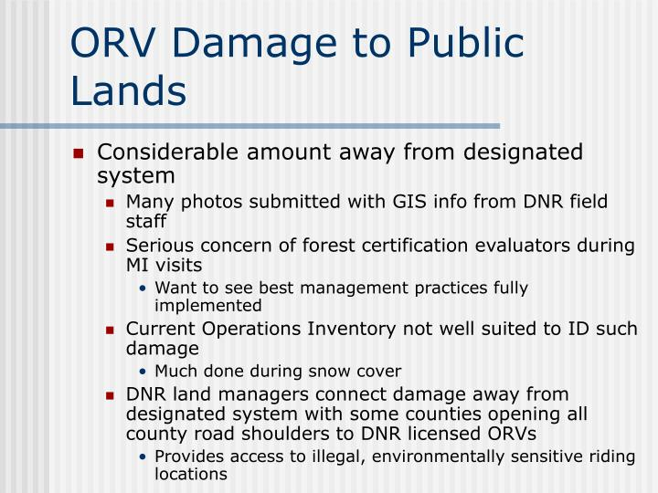 ORV Damage to Public Lands