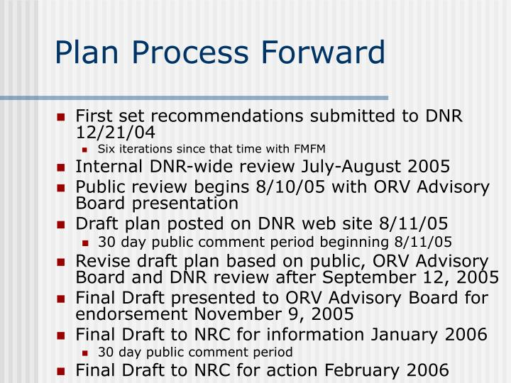 Plan Process Forward