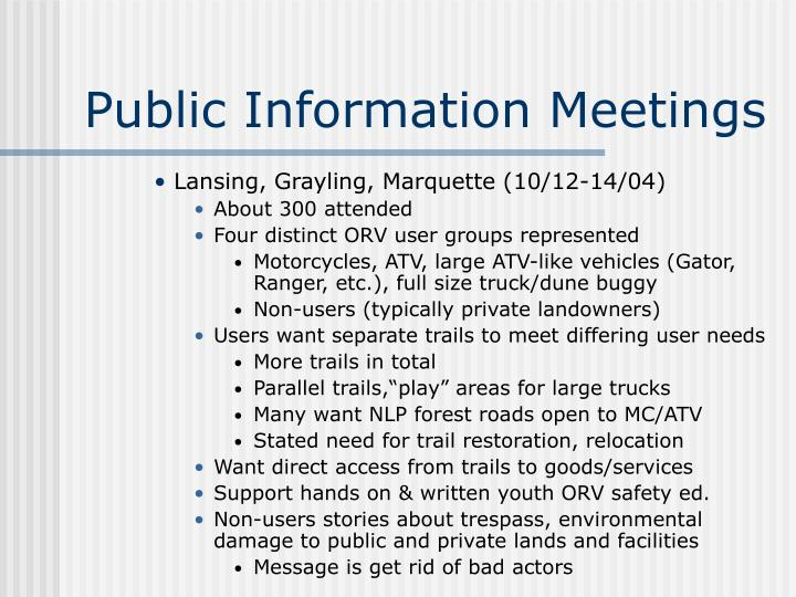 Public Information Meetings