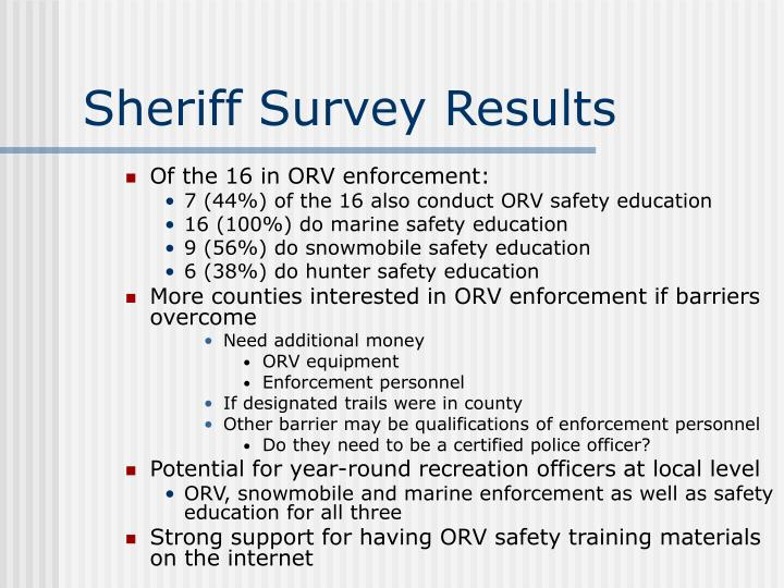 Sheriff Survey Results