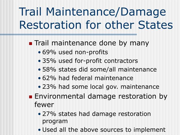 Trail Maintenance/Damage Restoration for other States