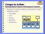 gauges in action measuring shared properties of heterogeneous connectors