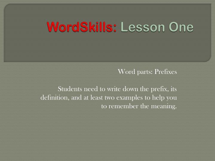 wordskills lesson one n.