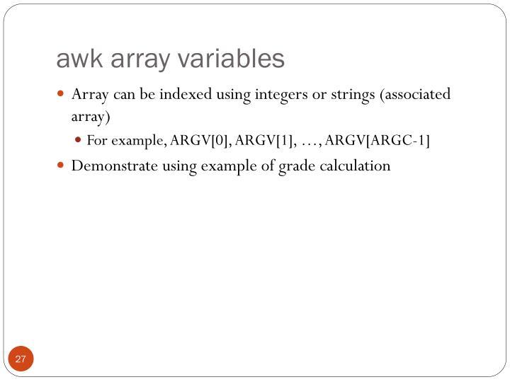 awk array variables