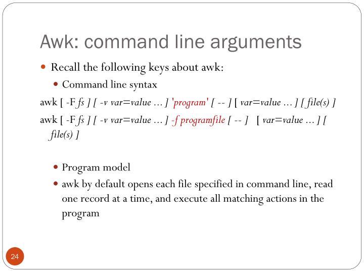 Awk: command line arguments