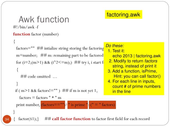 Awk function
