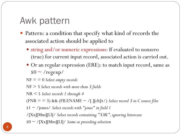 Awk pattern
