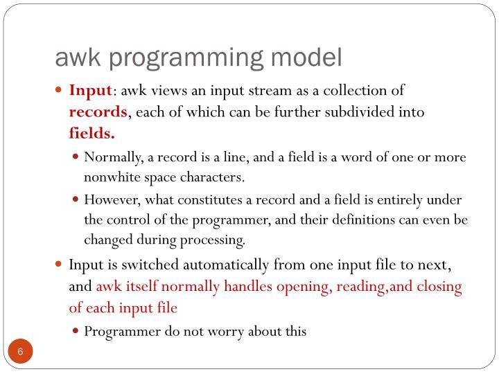awk programming model