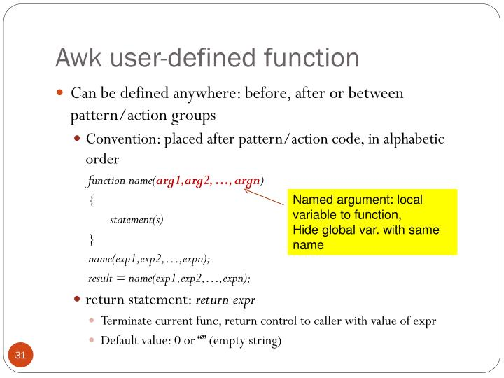Awk user-defined function