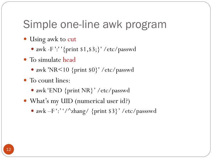 Simple one-line awk program