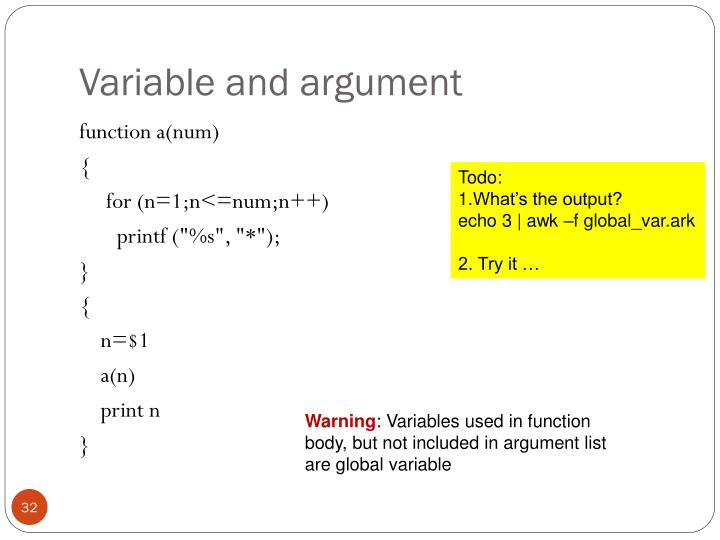 Variable and argument