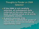 thoughts to ponder on dma selection